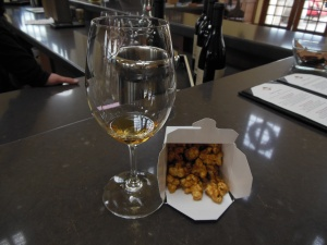 The Chardonnay is served with house-made caramel popcorn - so yummy.