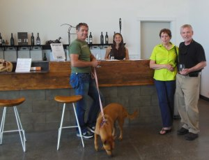 The Foundry tasting room is friendly and they even invited Angel in to cool off (but no wine for her  :-)
